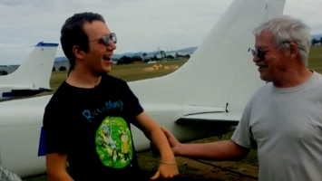 Santi after his first flight in a light aircraft